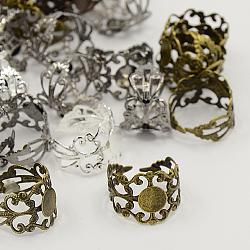 jarrets d'anneau en laiton de couleur mélangée en filigrane, conclusions sur la base de bague réglable, sans plomb, 17 mm; plateau: 8 mm(X-KK-H063-M)