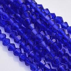 граненые стеклянные бусины двойной конус нити, синий, 4x4 mm, отверстия: 1 mm; о 100~104 шт / прядь, 18.1(X-EGLA-P017-4mm-08)