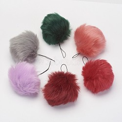 Pom Pom Ball Mobile Straps, with Fake Rabbit Hair, Mixed Color, 115mm(MOBA-G065-A)