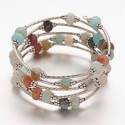"""Bracelets enroulés en amazonite naturelle, avec des billes entretoises cuivre et d'alliage et des perles de tube de laiton, 5 boucles, 53 mm (2-1/8"""")(BJEW-JB02650-04)"""