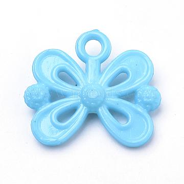 Opaque Acrylic Pendants, Bowknot, Dodger Blue, 20x23x5mm, Hole: 3mm(X-SACR-Q190-45F)