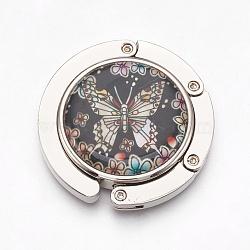 крючки вешалки мешка сплава цинка, с раковинами и стеклом, плоский круг с краном, платина, красочный, 44x9 mm(BAGH-WH0001-A02)