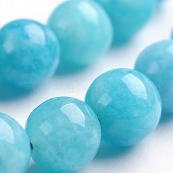 """Chapelets de perles en pierre gemme naturelle, teint, imitation aigue-marine, rond, 10mm, trou: 1mm; environ 38 pcs/chapelet, 14.9""""(G-J333-04-10mm)"""
