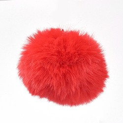 Подвески из искусственного меха кролика в виде помпона с шариками ручной работы, с эластичным волокном, красные, 55~74 мм, отверстие : 5 мм(WOVE-F020-A17)