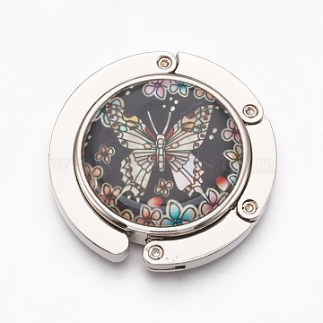 Zinc Alloy Bag Hanger Purse Hooks, with Shell Cabochons and Glass, Flat Round with Crane, Platinum, Colorful, 44x9mm(BAGH-WH0001-A02)
