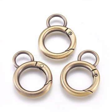 Alloy Key Clasps, Spring Gate Rings, Brushed Antique Bronze, 6 Gauge, 38.5x28x4mm, Hole: 11x8mm(PALLOY-WH0058-01AB)