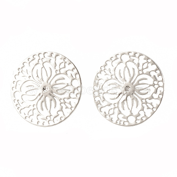Brass Ear Studs, Flat Round with Flower, Real Platinum Plated, 15mm; Pin: 0.6mm(X-KK-S345-273)