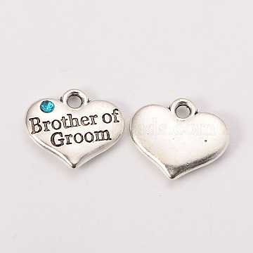 Wedding Party Supply Antique Silver Alloy Rhinestone Heart Carved Word Brother of Groom Wedding Family Charms, Cadmium Free & Lead Free, Aquamarine, 14x16x3mm, Hole: 2mm(X-TIBEP-N005-26E)
