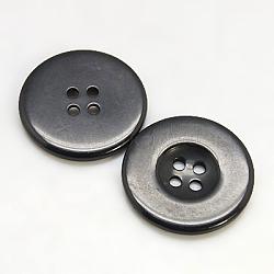Boutons en résine, teint, plat rond, noir, 20x3mm, Trou: 2mm(RESI-D033-20mm-02)
