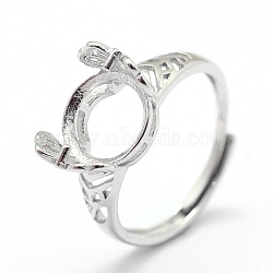 Adjustable Sterling Silver Ring Components, For Half Drilled Beads, Heart, Platinum, Tray: 11x7mm; 17mm; Pin: 0.8mm(STER-I016-003P)