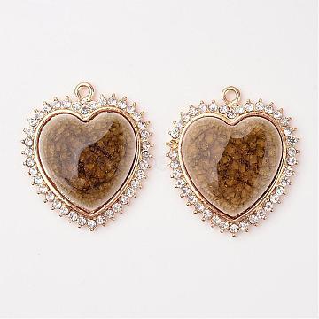 Heart Alloy Porcelain Pendants, with Rhinestones, Light Gold, DarkGoldenrod, 42x37x6.5mm, Hole: 2.5mm(PALLOY-L190-05KCG)
