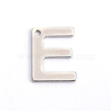 304 Stainless Steel Letter Charms, Letter.E, 11x8x0.8mm, Hole: 1mm(X-STAS-O072-E)