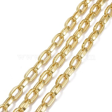 Alloy Cable Chains, with Spool, Long-lasting Plated, Lead Free & Cadmium Free, Unwelded, Oval, Golden, 14x8.5x3mm, about 32.8 Feet(10m)/roll(LCHA-I001-03G-RS)