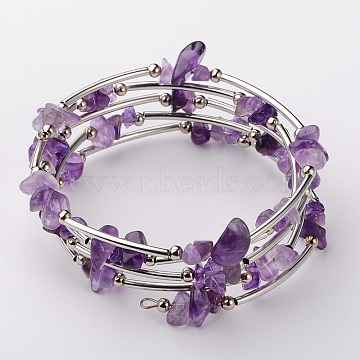 Natural Amethyst Chip Warp Bracelets, Steel Bracelet Memory Wire with Brass Tube Beads and Iron Round Beads, Platinum, Amethyst, 53mm(X-BJEW-JB01517-02)