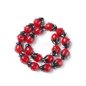 Handmade Lampwork Beads Strands, Ladybug, Red, 12~14x9~10x5~6mm, Hole: 1~2mm, about 20pcs/Strand(LAMP-TA0002-01)