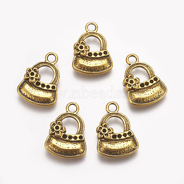 Lady Bags Alloy Pendant Rhinestone Settings, Cadmium Free & Lead Free, Antique Golden, 20.5x15x4mm, Fit for 0.5~1mm Rhinestone, Hole: 3mm(X-PALLOY-A13356-AG-RS)