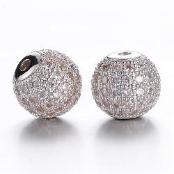 Brass Micro Pave Cubic Zirconia Beads, Round, Platinum, 10mm, Hole: 2mm(ZIRC-D011-53P)