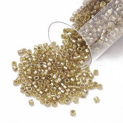 Miyuki® delica beads, perles de rocaille japonais, 11 / 0, (db 0288) safran doublé de blanc ab, 1x1.5 mm, trou: 0.5 mm; sur 2000 pcs / bouteille(SEED-S015-DB-0288)
