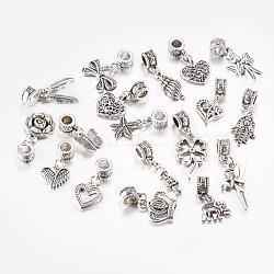 Perles européennes en alliage de style tibétain, Pendentifs grand trou, formes mixtes, argent antique, 22~35mm, pendentif: 12~25x4~18.5x1.5~4 mm, Trou: 4.5~5mm(PALLOY-F199-42AS)