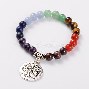 Natural Gemstone Stretch Charm Bracelets, with Tibetan Style Tree of Life Pendant, Antique Silver, Colorful, 2-1/8 inches(5.5cm)(X-BJEW-JB01702)