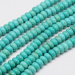 """1 rangée de perles rondelles turquoises synthétiques, teint, 10x6mm, trou: 1mm; environ 45 pcs/chapelet, 15.75""""(X-TURQ-G109-10x6mm-06)"""