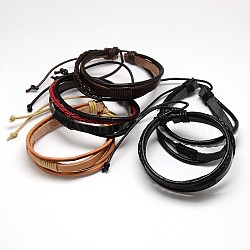 Trendy Unisex Casual Style Multi-Strand Wax and Leather Cord Bracelets, Mixed Color, 2-1/2inches(6.4cm)(X-BJEW-L295-M)