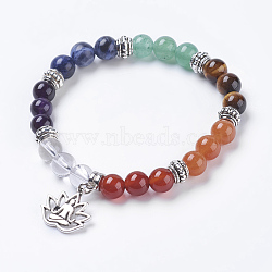 """Bijoux chakra, perles naturelles mixtes de pierre étendent bracelets, avec les accessoires en alliage, lotus avec zazen, argent antique, 2-1/4"""" (5.7 cm), pendentif: 16.5x18x1.5 mm(BJEW-G600-02AS)"""