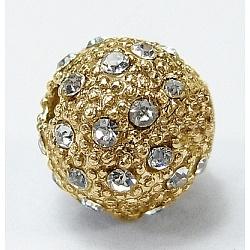 Perles en strass, alliage, Grade a, rond, dorée, taille: environ 8mm de diamètre, Trou: 1.5mm(X-BSAKH044-G)