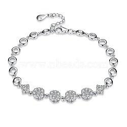 925 bracelets à maillons en argent sterling, avec zircons, fleur, effacer, platine, 6-1 / 4 (16 cm)(BJEW-BB32766)
