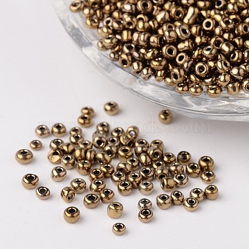12/0 Metallic Colours Round Glass Seed Beads, Coconut Brown, 2mm, Hole: 1mm; about 3304pcs/50g(X-SEED-A009-2mm-601)