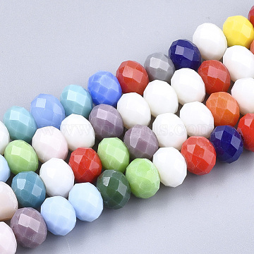 7mm Mixed Color Rondelle Glass Beads