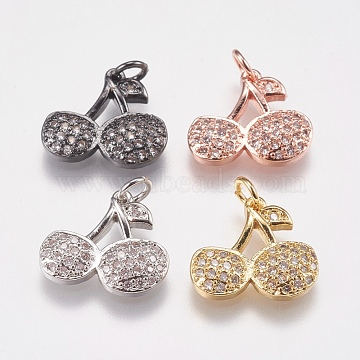 Mixed Color Clear Cherry Brass+Cubic Zirconia Charms