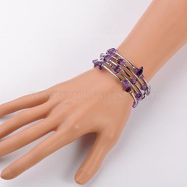 Natural Amethyst Chip Warp Bracelets(X-BJEW-JB01517-02)-2