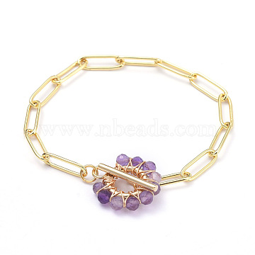 Brass Paperclip Chain Bracelets, with Natural Amethyst Beads and 304 Stainless Steel Toggle Clasps, Real 18K Gold Plated, 7-1/4 inches(18.5cm)(BJEW-JB05180-01)