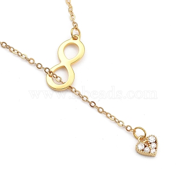 Lariat Necklaces, with Brass Cable Chains and 304 Stainless Steel Spring Ring Clasps, Heart with Infinity, Golden, 23.43 inches(59.5cm)(NJEW-JN03029)