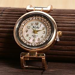Ton doré plats ronds alliage strass montre à quartz têtes de montres de visage, avec dos en acier inoxydable, or, 40.5x27.5x8mm(X-WACH-F009-03)