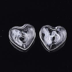 perles de verre soufflé à la main, pour stud boucles d'oreilles de décision ou de l'artisanat, la moitié foré, cœur, effacer, 21x22~22.5x12 mm, demi-trou: 4~4.5 mm(X-BLOW-T001-17)