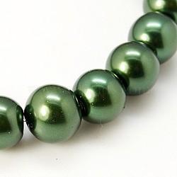 Perle de verre ronde perles en vrac pour collier de bijoux fabrication artisanale, darkgreen, 6 mm, trou: 1 mm, environ 140 pcs / brin(X-HY-6D-B59)
