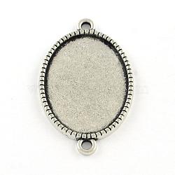 Alliage ovale style tibétain supports de connecteur de cabochon, sans cadmium et sans plomb, argent antique, plateau: 18x13 mm; 27x16x2 mm, Trou: 2mm(X-TIBE-Q038-002A-AS-RS)