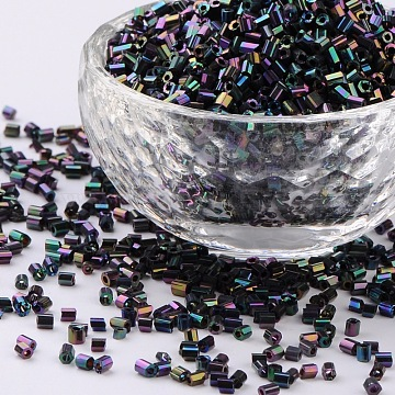 11/0 Two Cut Glass Seed Beads, Hexagon, Colorful, Size: about 2.2mm in diameter, about 37500pcs/Pound(CSDB703)