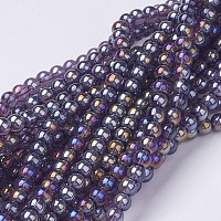 Chapelets de perles en verre, ronde, de couleur plaquée ab , bleu foncé, 8mm, trou: 1mm; environ 42 pcs/chapelet, 14 pouces