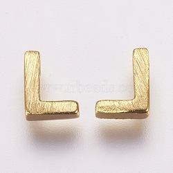 Breloques en laiton, véritable 18k plaqué or, letter.l, 6x4.5x2mm, Trou: 1mm(KK-P081-L)