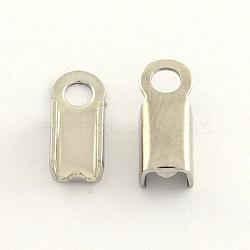 304 нержавеющая сталь складной обжима концов, цвет нержавеющей стали, 9x4.5x4 мм, отверстие : 2 мм(X-STAS-R063-30)