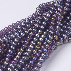 """Chapelets de perles en verre, rond, de couleur plaquée ab , darkslateblue, 8mm, trou: 1mm; environ 42 pcs/chapelet, 14""""(X-GR8mm-06Y-AB)"""