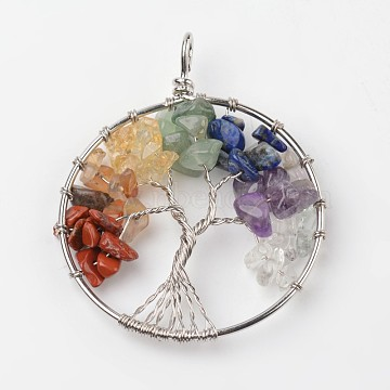 Platinum Tree Mixed Stone Big Pendants