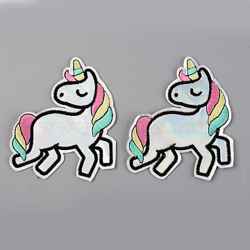 Computerized Embroidery Laser Shining Cloth Iron on/Sew on Patches, Appliques, Costume Accessories, Unicorn, Colorful, 100x85x1.5mm(X-DIY-S040-021)