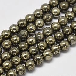 """Chapelets de perles rondes en pyrite naturelle, Grade a, 8mm, trou: 1mm; environ 50 pcs/chapelet, 16""""(G-F197-10-8mm)"""
