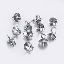 304 vis de cheville en acier inoxydable, pour la moitié de perles percées, couleur inoxydable, 10x8mm, Trou: 2mm, pin: 1.2 mm(X-STAS-L198-08P)