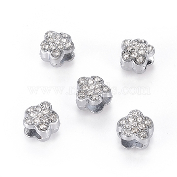 Platinum Alloy Rhinestone Flower Slide Charms, Valentine Gift Beads, about 10mm in diameter, 6.5mm thick, hole: 3.5x7mm(X-ZP12-1)