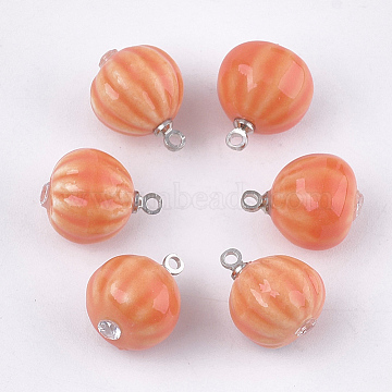 Handmade Porcelain Pendants, Bright Glazed Porcelain, with Brass Findings and Cubic Zirconia, Round, Platinum, Coral, 15~16x12~13mm, Hole: 1.5mm(PORC-T002-09A)